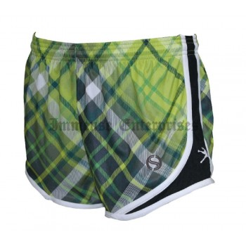 Girls Lacrosse Sprinter Shorts - Lime Green Plaid