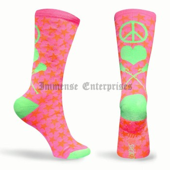 Peace Love Lacrosse Neon Series Lacrosse Socks Pink, Green, Orange