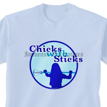 Lacrosse Tshirt Short Sleeve Lacrosse Chicks With Sticks